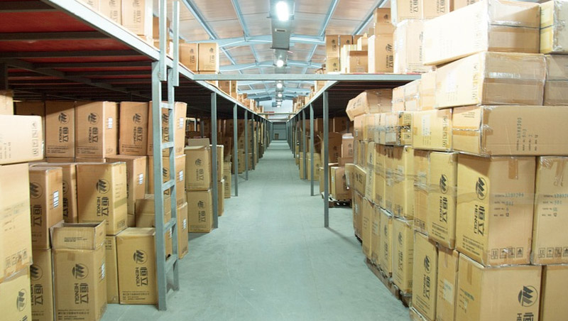 Warehouse Stocked with Boxes
