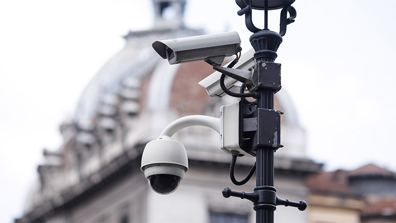 Surveillance cameras on light post